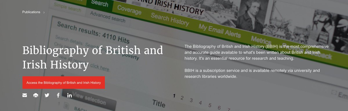 Next update of Bibliography of British and Irish History (#BBIH) adds #metadata rich records of c.4500 new #History publications (articles, books, essays) + links to 1500 journal reviews. New update out start of Feb. Good way to keep on top of things, or try to #twitterstorians