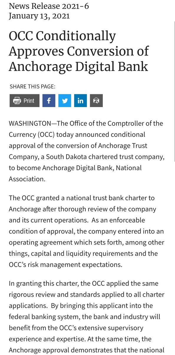 🔥 JUST IN: XRP custodian Anchorage just became the fist federally chartered digital asset bank by obtaining national bank charter from from OCC occ.gov/news-issuances… #XRP #XRPCommunity #crypto #blockchain
