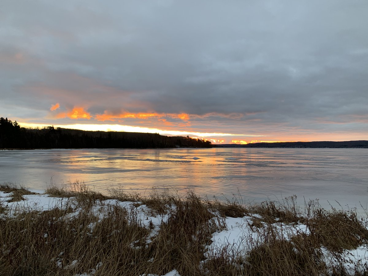 Icy lakes make for great spots to reflect on nature's beauty.  Photo: Sunrise over a frozen Little Glen Lake.
