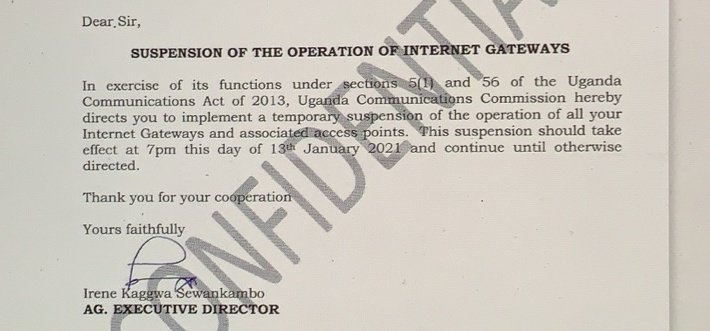 The government of #Uganda has ordered #Internet service providers to shut down all international gateways until further notice. We are completely cut off from the world. https://t.co/kZEpqbhRPM