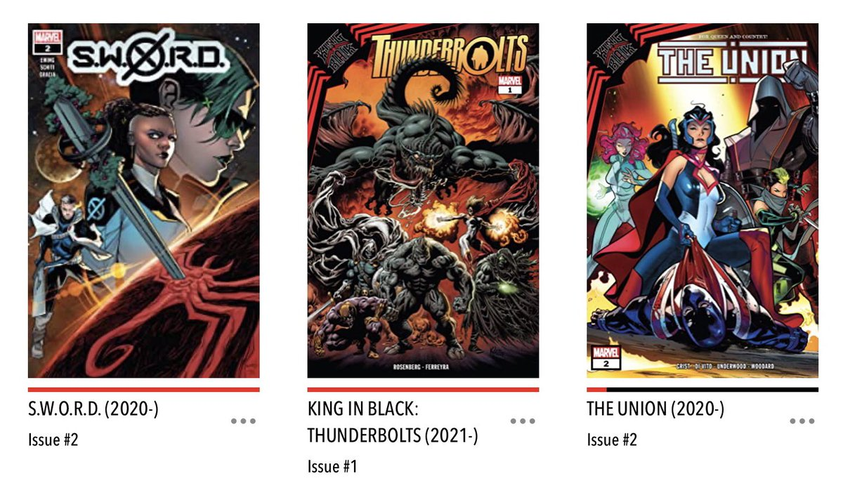 It's very cold and there's some messy life going on but for now let's focus on the fun that is #NCBD! My #MarvelsPullList this week was very King-In-Blacky - #KingInBlackThunderbolts #TheUnion (KIB tie in) and #SWORD (also KIB tie in). Bring on the goop!