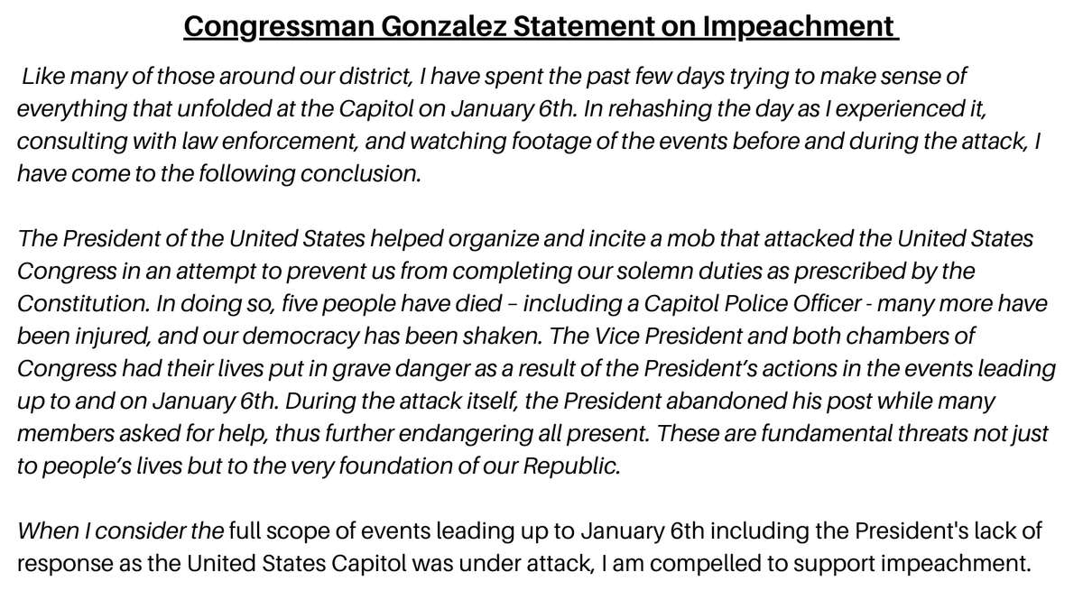See my full statement on impeachment below.