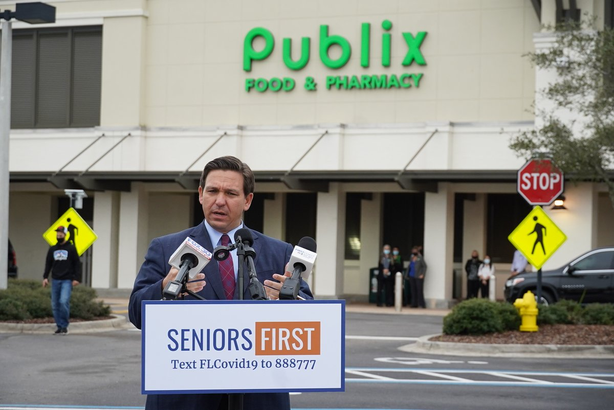 This morning we announced the expansion of vaccine deployment to 56 additional @Publix pharmacies in Flagler, St. Johns, Volusia and Collier counties. This brings us to more than 100 @Publix pharmacies offering COVID-19 vaccines across 12 counties in Florida.