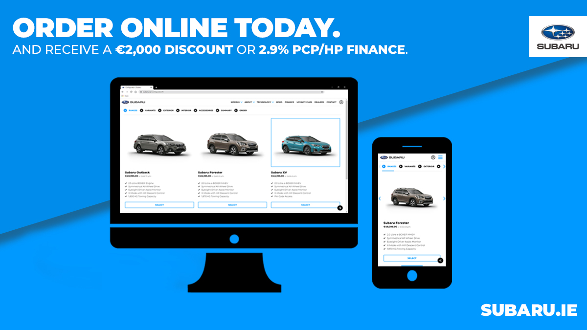 Did you know you can configure, finance and arrange collection or delivery of your New Subaru - all from the comfort of your own home?  Better yet, when you order online you receive a €2,000 discount or 2.9% PCP/HP Finance!  Visit our website for more - https://t.co/m2xYmfyGX1 https://t.co/ImKYgFj24L