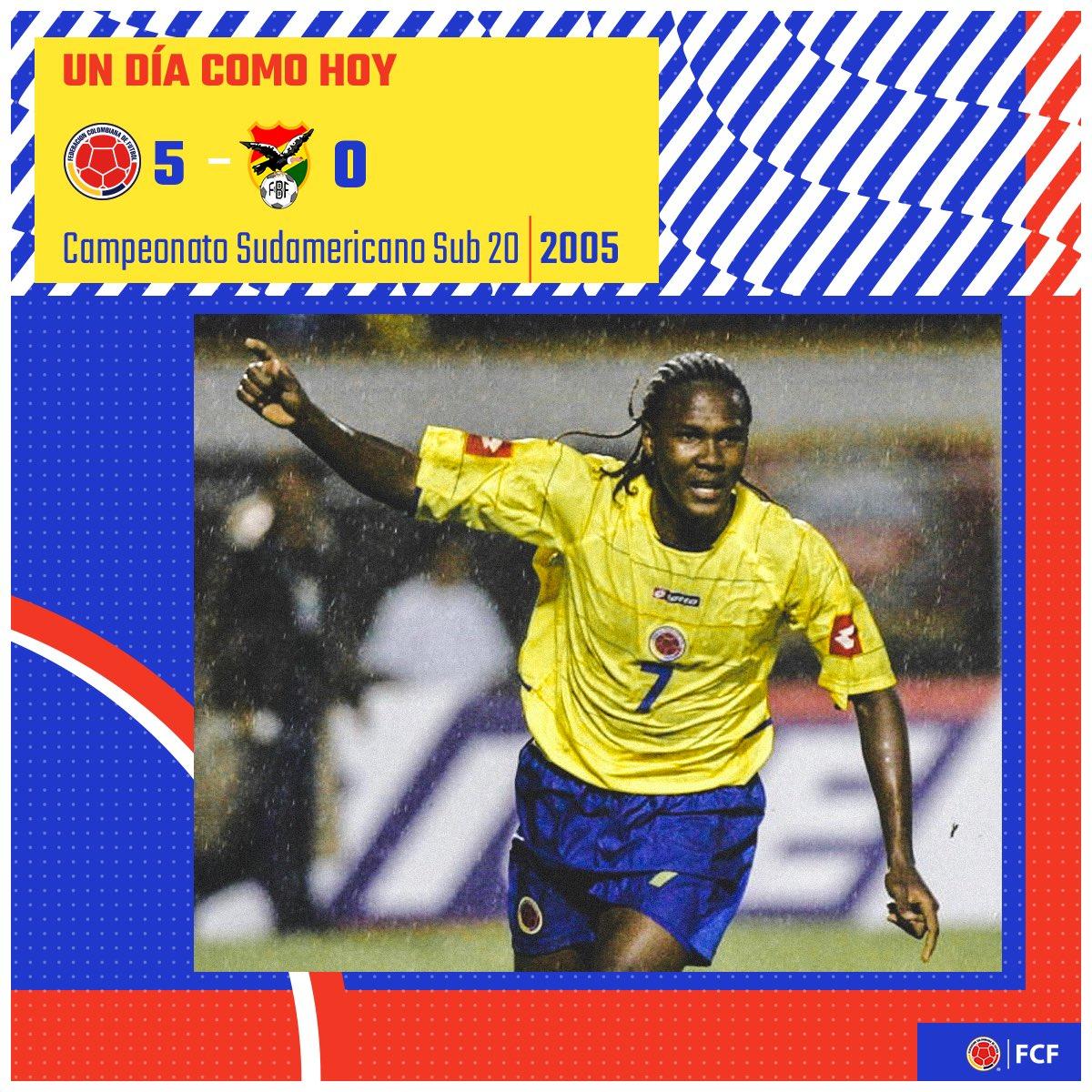 #UnDíaComoHoy nuestra Selección Colombia Sub 20 debutaba en el Sudamericano Sub 20 2005 👏  🇨🇴 5️⃣ - 0️⃣ 🇧🇴 🏟️Centenario 📅13 de enero de 2005 ⚽ Juan Carlos Toja, Hugo Rodallega (x4)  #VamosColombia 🇨🇴