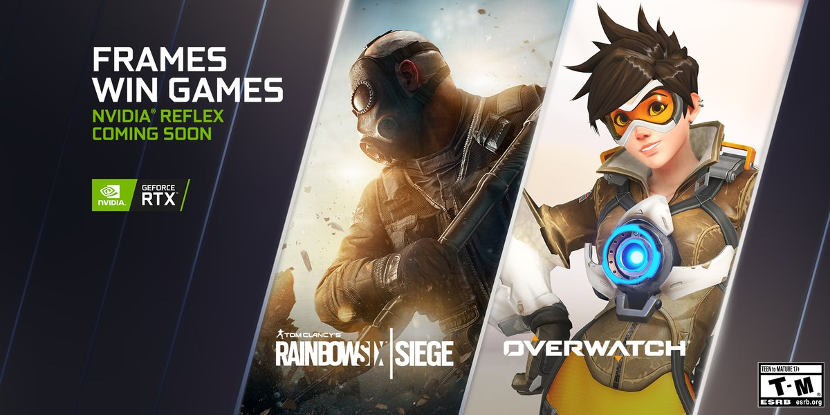 Overwatch and Rainbow Six: Siege will be adding NVIDIA Reflex soon for all GeForce 900 series GPUs and newer.   #FramesWinGames 👉