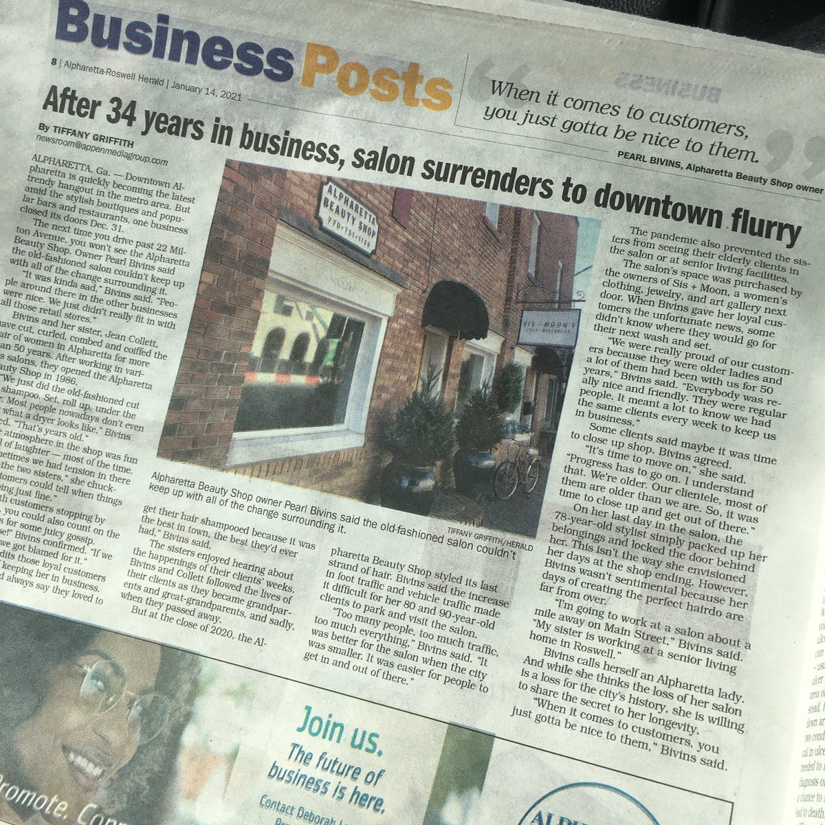 My latest story in the @NorthFulton newspapers — progress has its losses. And so goes a longtime business of downtown #Alpharetta. 👩🏾💻🗞💇🏼♀️ #business