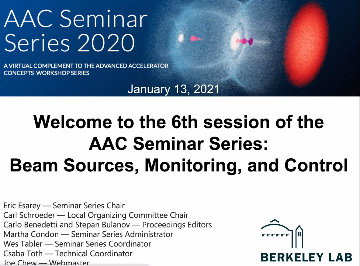 Welcome to Working Group 5 – Beam sources, monitoring, and control of the the @BerkeleyLab hosted, 2020 Advanced Accelerator Concepts Seminar Series! https://t.co/tA55Ytxpta https://t.co/Bm2gG8kZEc