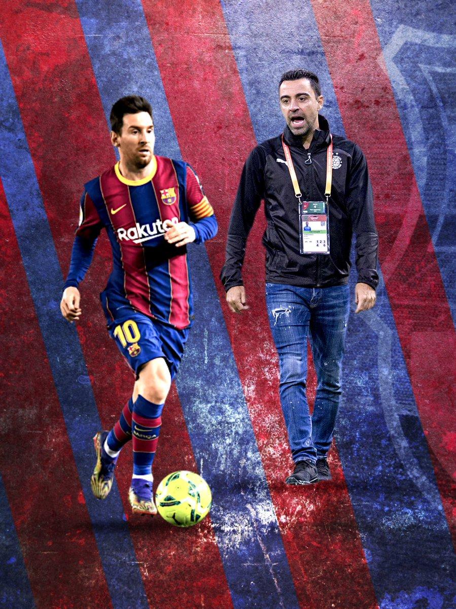 Imagine this duo 🔥 #Xavi coach and #Messi captain. (design done on mobile) #XaviMessi #Barca