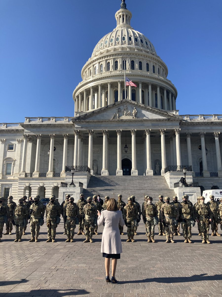 The Speaker of the House thanks the men and women of the National Guard for protecting the U.S. Capitol.