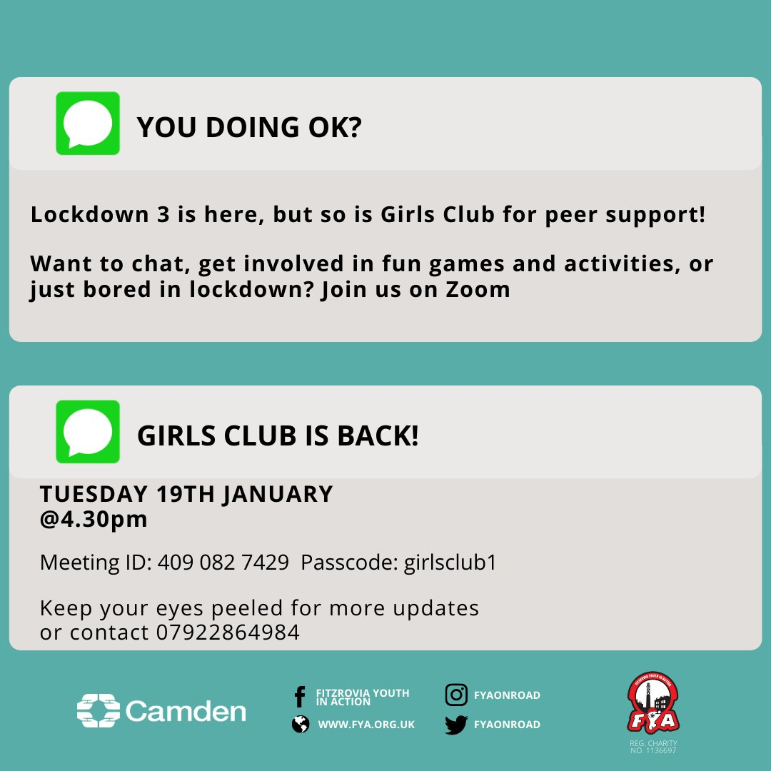 GIRLS CLUB IS BACK! Join us from next Tuesday 19th January to catch up, chat through whats happening, have some fun together & more! Send a text/whatsapp if you are a new member before you join the session. #peersupport #girlsclub #camden #together #youthaction #wellbeing