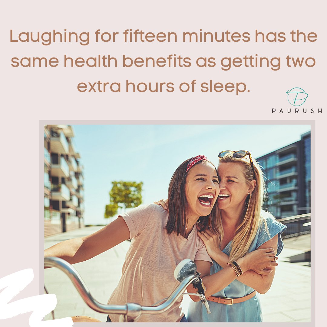 Laughing for fifteen minutes has the same health benefits as getting two extra hours of sleep. @  #indianfitness #paurushindia #health #healthy #healthyliving #healthyfood #healthylifestyle #wellness #workout #fit #fitness #nutrition #gym #veganholidays