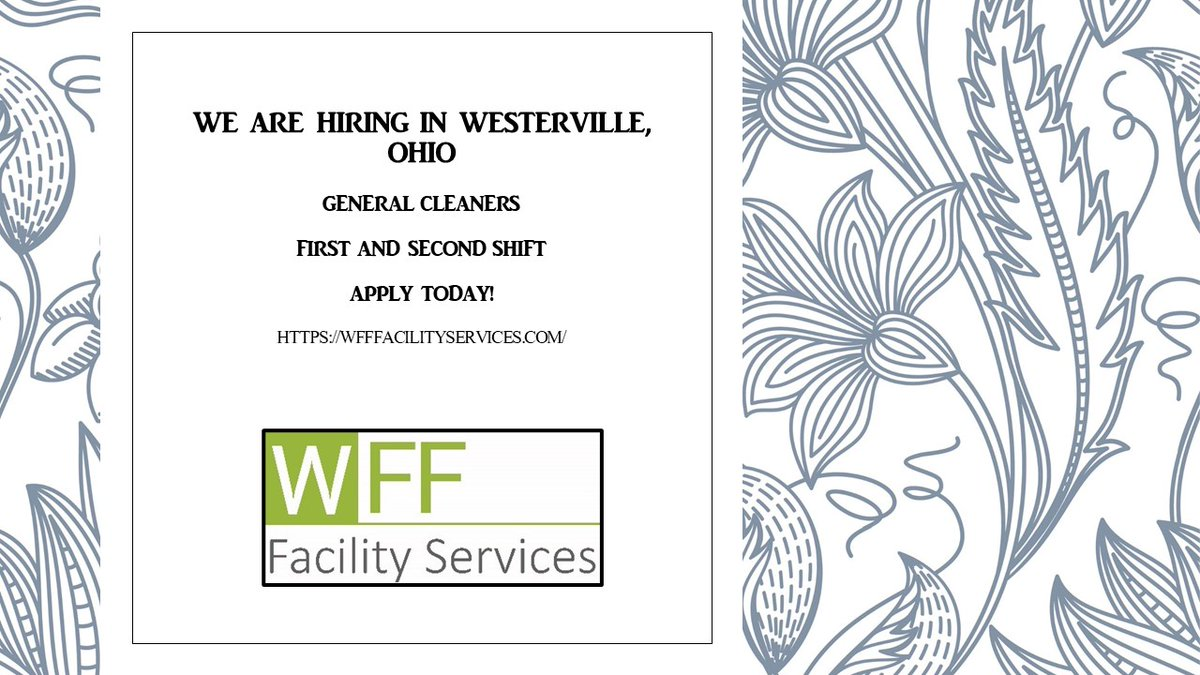 Now hiring General Cleaners at our facility in Westerville, Ohio! Apply today for immediate consideration!    #jobseekers #Jobs #JobSeekersWednesday #nowhiring #ColumbusOH #Ohio #WednesdayMotivation #Career #applynow #hiring #hiring