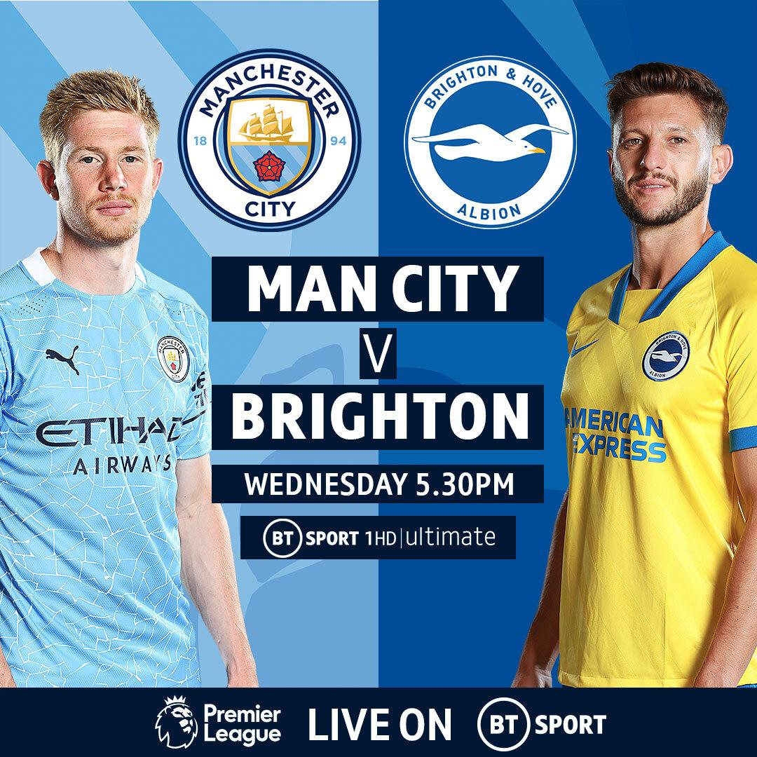 Man City host Brighton in our midweek Premier League match, from 5:30PM today on @btsport 1 HD   Ultimate.  Find out about and try the Ultimate viewing experience here: