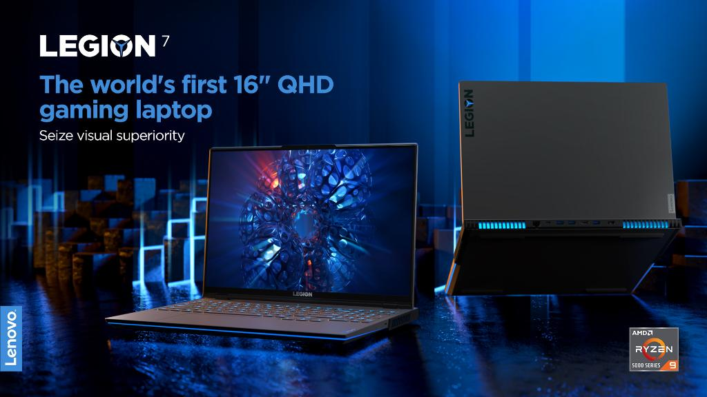 """A 16:10 display, up to 165hz refresh rates, under 3ms response time, and astonishing pixel density. The Legion 7 is the world's first 16"""" QHD gaming laptop powered by @AMD Ryzen™ 5000 H-Series Mobile Processors @#PoweringTheImpossible #CES2021 #LenovoCES"""