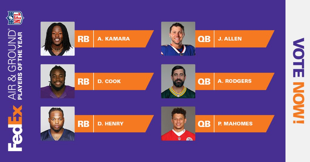 Make sure to cast your votes for the FedEx #AirandGround @NFL Players of the Year! Vote at  through Tuesday, February 2.