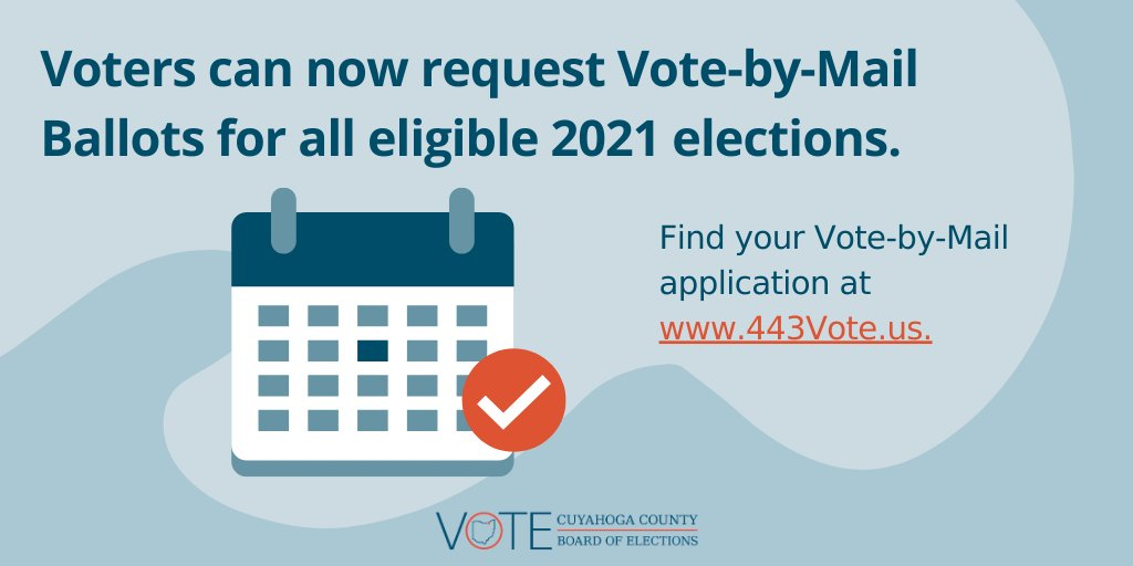 FYI: Voters can now request Vote-by-Mail ballots for every eligible election of 2021. Be prepared - get your application today at !