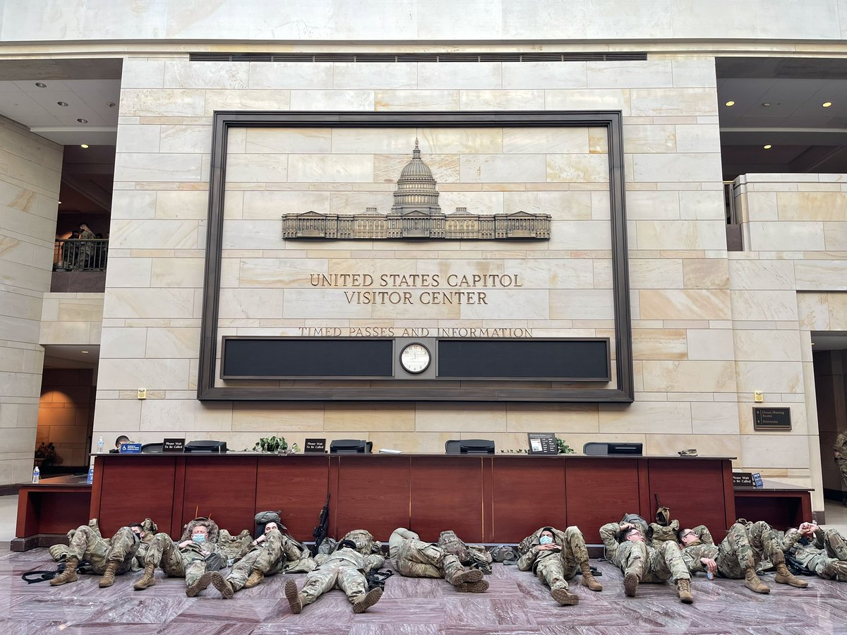 There are at least a thousand, probably more, National Guard troops all over the Capitol Visitor Center, Emancipation Hall, and surrounding hallways. They're sleeping in reception areas, the cafeteria, the entrance to the building. Everywhere.