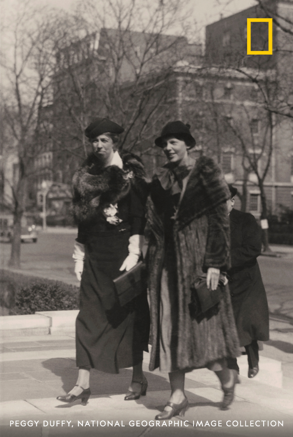 In 133 years, many influential women have visited the National Geographic Headquarters in Washington, D.C. Here, Amelia Earhart and Eleanor Roosevelt arrive at National Geographic for a lunch honoring Earhart