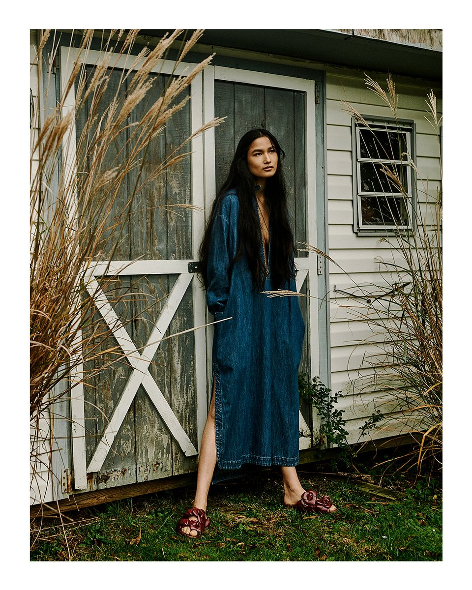 "A denim dress and Valentino Garavani #AtelierShoes from the #ValentinoDiary campaign were featured on model Varsha Thapa in ""Denim Decoded,"" a new story from Vogue Hong Kong.  #ValentinoNewsstand"