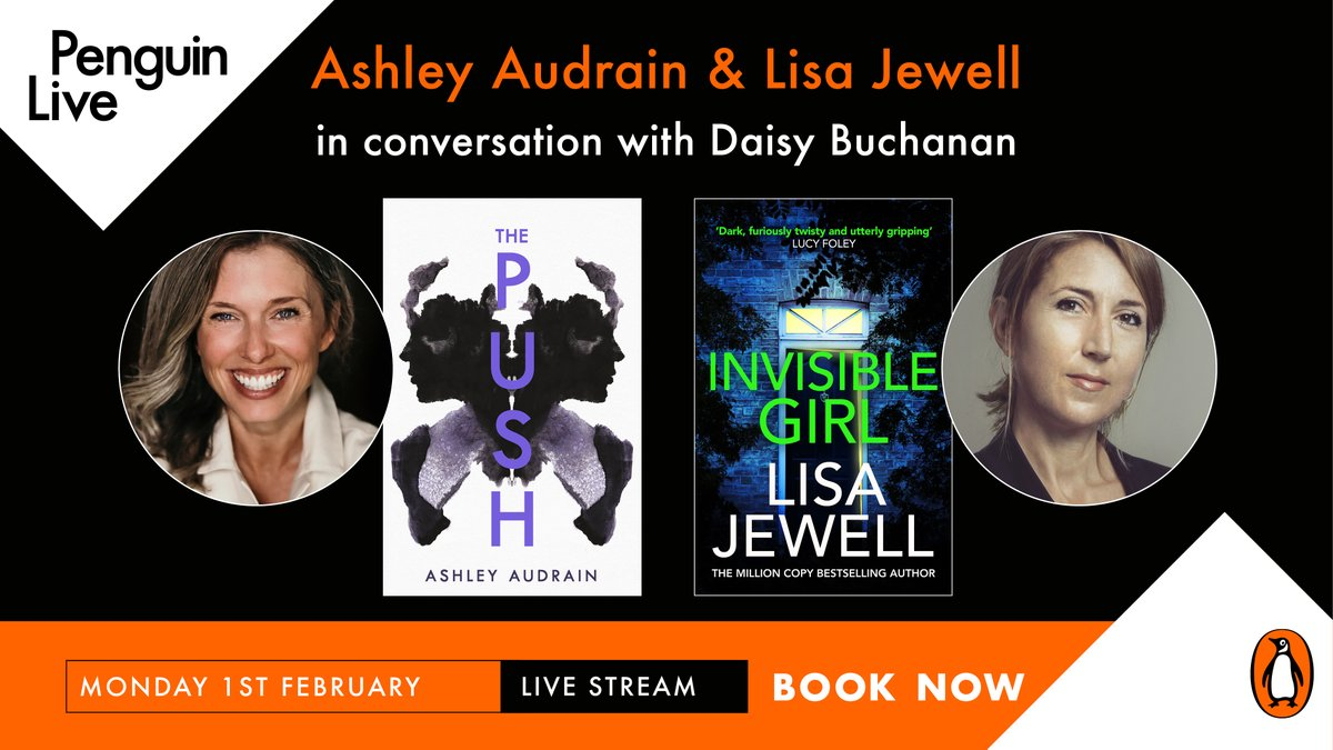Join @audrain & @lisajewelluk in conversation with @NotRollergirl as they discuss where the inspiration for The Push and Invisible Girl came from, and what it takes to write a gripping thriller that keeps the reader turning the page 📚✨  Book now: