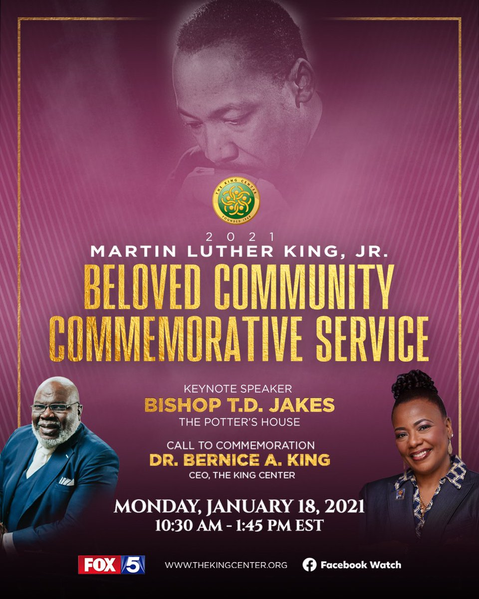 Monday. #MLKDay. Join us.   #MLK #BelovedCommunity  Commemorative Service   #Streaming via , @FOX5Atlanta and Facebook Watch.