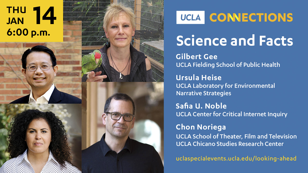 How can we inspire people to embrace reliable facts as a means to heal our economy, our planet and our culture?  UCLA experts discuss what universities can do in the next four years through intersecting crises.  RSVP:  #UCLAconnections @safiyanoble