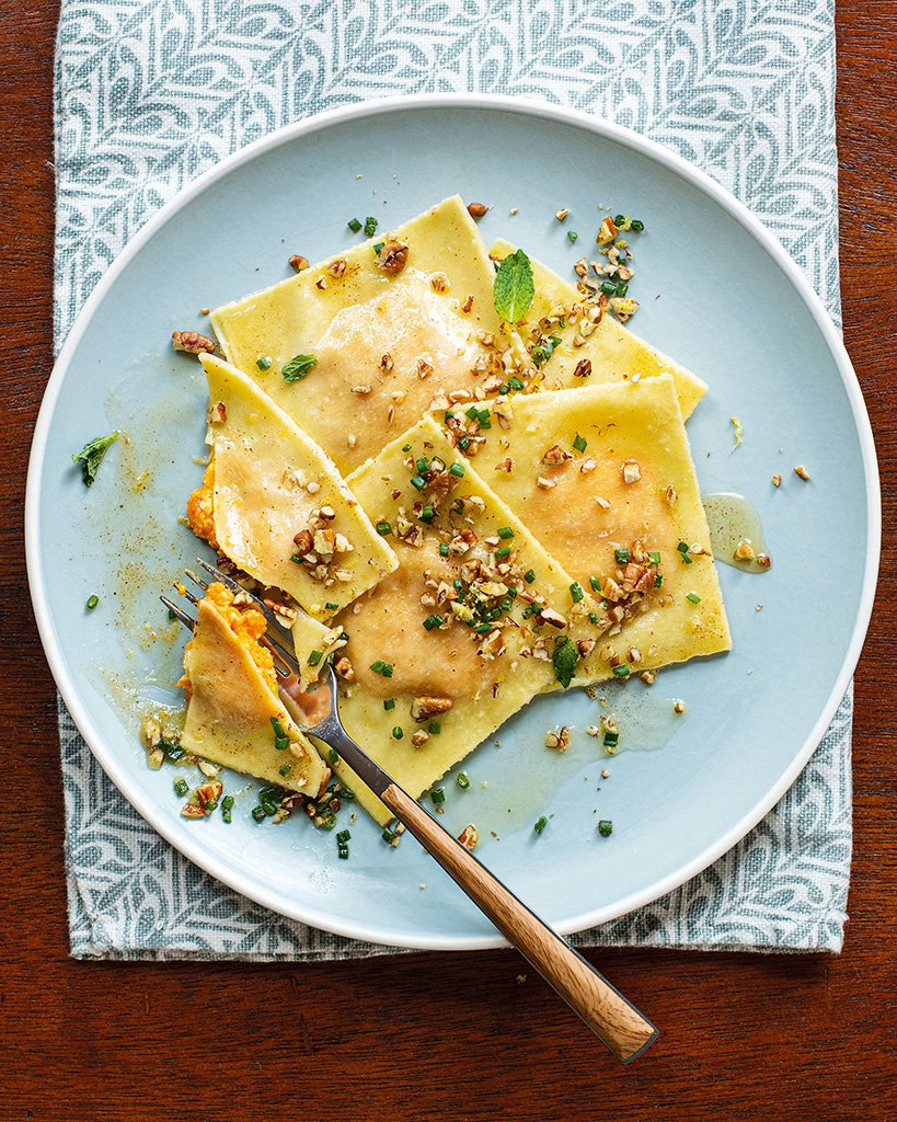 Loved all the questions last week re: your new kitchen gear from the holidays! Belinda Howell requested a recipe that uses a ravioli press & I have the perfect dish for you. These Ayib & Sweet Potato Ravioli from The Rise are delicious &  easy to make!