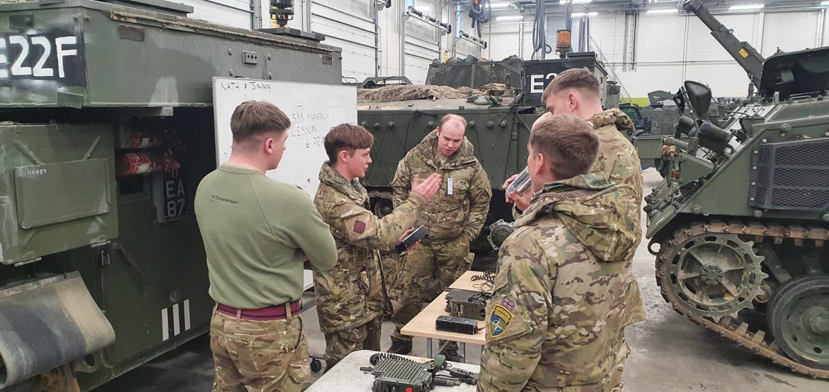 @OC_5AES  No comms, no bombs... 5 AES signals troop providing basic comms refresher training, this was delivered to the Squadron to enhance everyone's skill set.  #ArmouredSappers #nilDesperandum #LiveMoveFight.