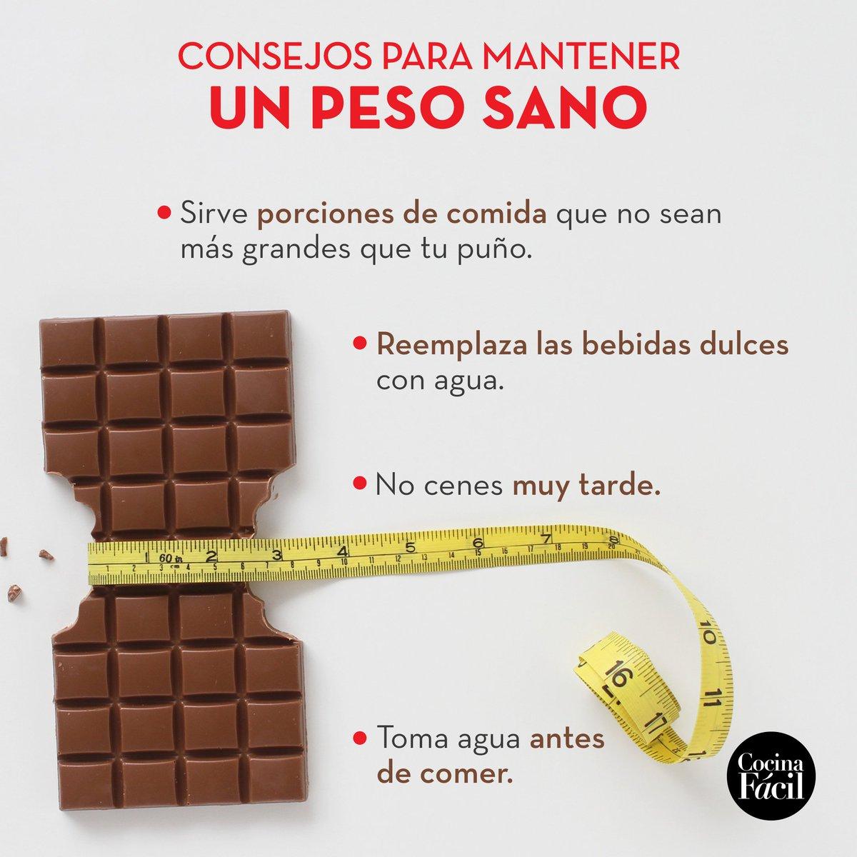 RT @cocina_facil_mx: Si buscas tener un peso sano, sigue estos consejos 😉  #CocinaFácil https://t.co/fDoqM5cQo5