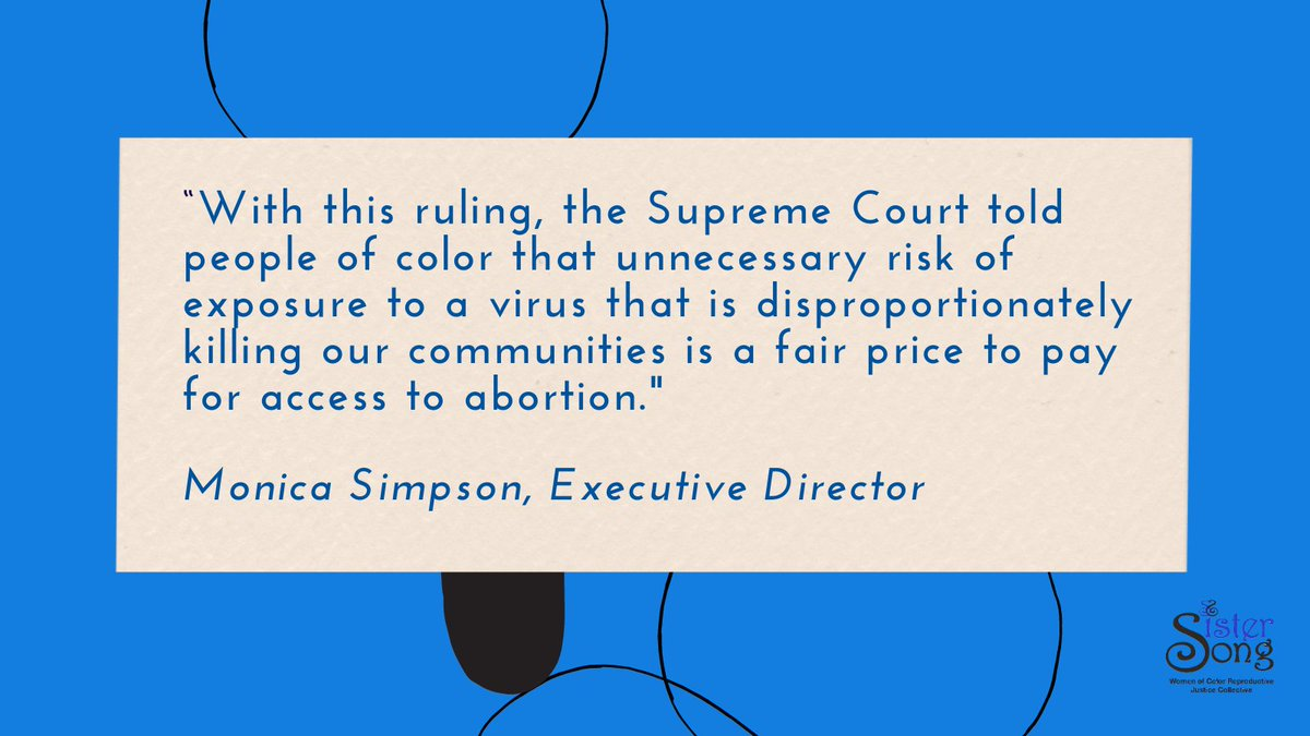 In first ruling on abortion with Coney Barrett on the bench,  SCOTUS reinstated in-person pick-up requirement for abortion pills. We're still in a pandemic & we know who will be hurt most!  Statement from @ACLU & plaintiffs, including SisterSong: .