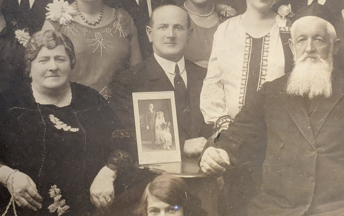 Center is my grandfather (who had already emigrated to the USA in the 1910s and served in World War I in the US Army. The matriarch and patriarch died before WW2 and are buried in a Jewish cemetery in Warsaw. The photo shows my great uncle Norman, who also emigrated to the USA.