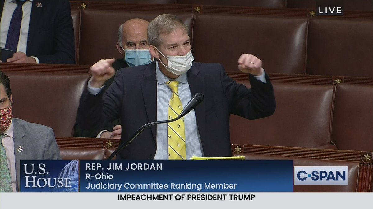 """House Judiciary Ranking Mbr Jim Jordan (R-OH) begins House debate for Republicans opposing impeaching President Trump:""""Democrats are going to impeach the President for a 2nd time, one week before he leaves office. Why? Why? Politics & the fact they want to cancel the President."""""""