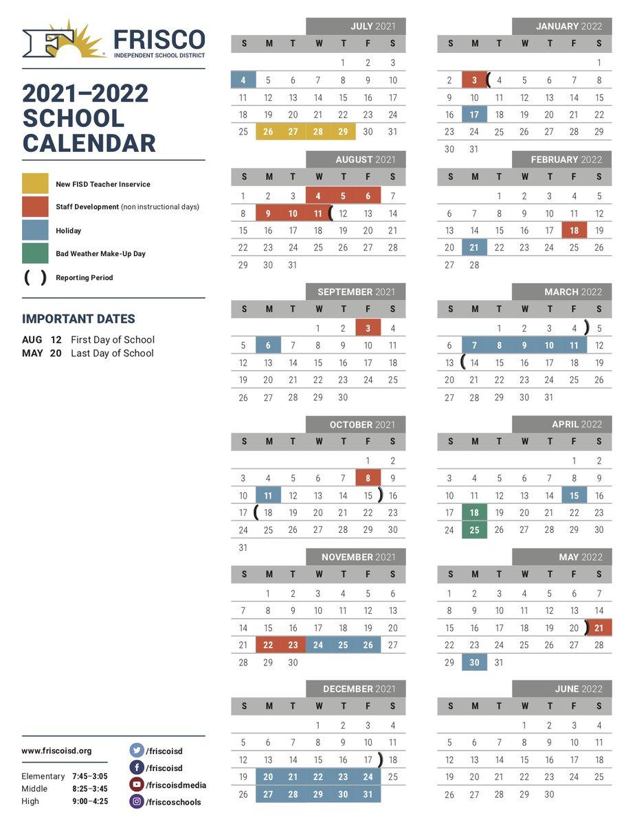 Frisco Isd 2021-2022 Calendar Corbell Elementary School Home