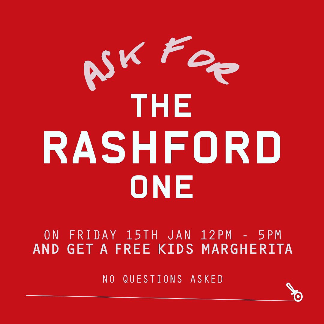 For kids who get #freeschoolmeals but are being sent white bread and a single tomato: Time to level up 👊  This Friday! 12-5pm! Ask for 'The Rashford One' and get a free kids margherita 🍕  Phone ahead or drop in. No questions asked.