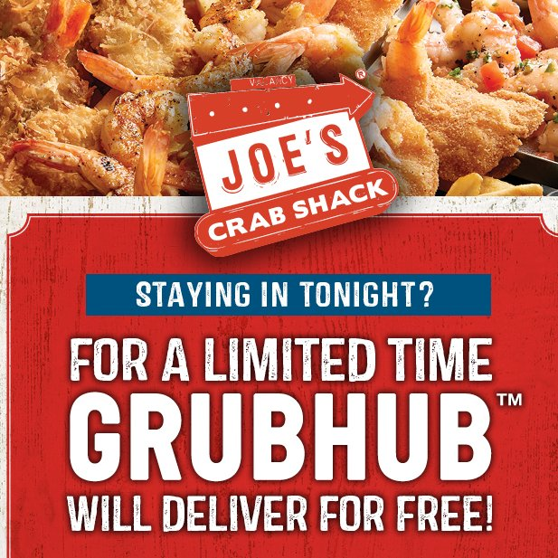 Staying in tonight? For a limited time enjoy FREE DELIVERY when you order Joe's off @GrubHub!