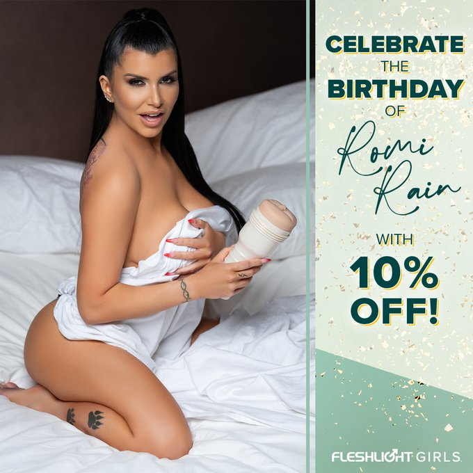 Celebrate Fleshlight Girl @Romi_Rain's birthday ALL MONTH with 10% off her Fleshlight by using coupon