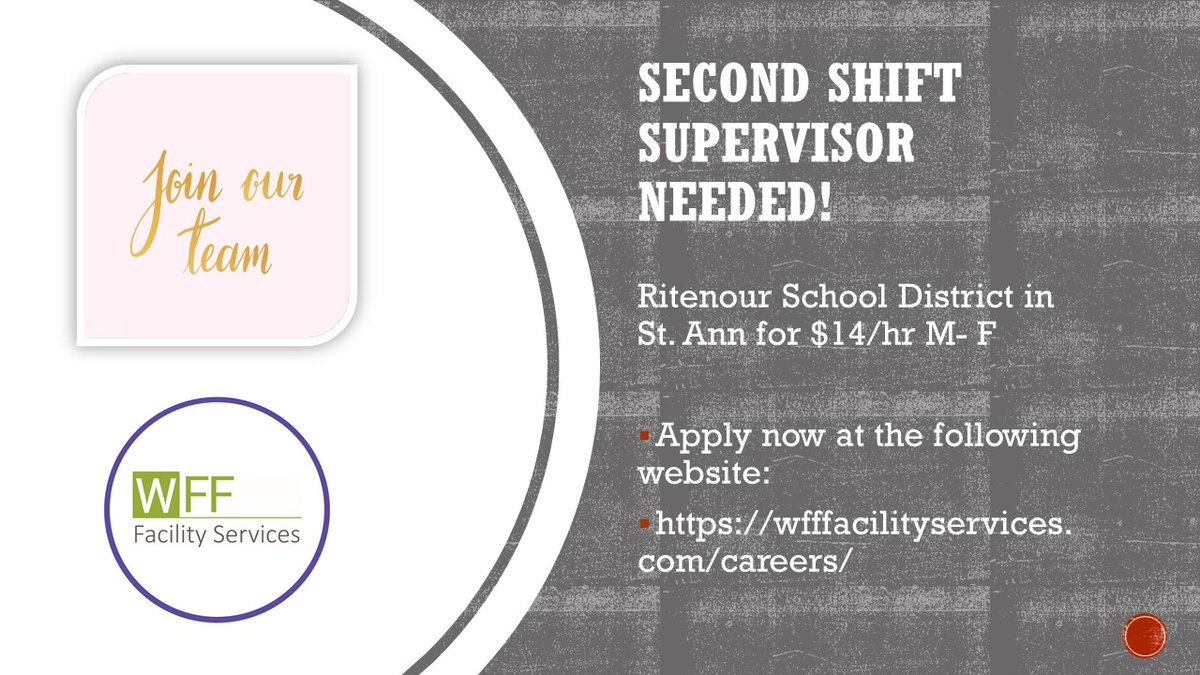 Custodial Supervisor needed in St Ann, MO! Apply today at:    #jobseekers #Jobs #JobSeekersWednesday #nowhiring  #WednesdayMotivation #Career #applynow #hiring #HIRINGNOW #supervisor #HIRINGNOW