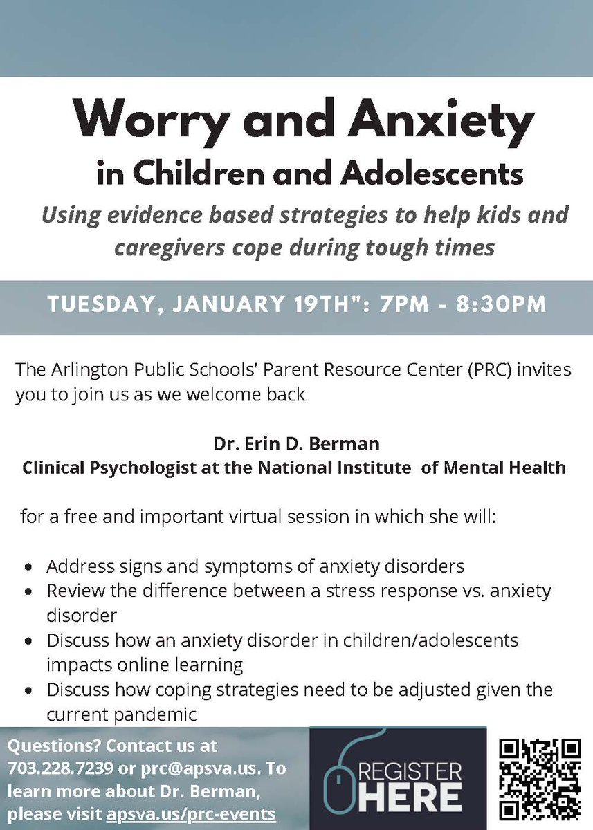 NIMH's Dr. Erin Berman will be presenting a FREE session on Worry & Anxiety on 1.19 - Join us! Register at <a target='_blank' href='https://t.co/V6ddQVUNJw'>https://t.co/V6ddQVUNJw</a>  <a target='_blank' href='http://twitter.com/KellyKrugOSE'>@KellyKrugOSE</a> <a target='_blank' href='http://twitter.com/WendyCarria'>@WendyCarria</a> <a target='_blank' href='http://twitter.com/ArlingtonSEPTA'>@ArlingtonSEPTA</a> <a target='_blank' href='http://twitter.com/APSface'>@APSface</a> <a target='_blank' href='https://t.co/1JDf750lhc'>https://t.co/1JDf750lhc</a>