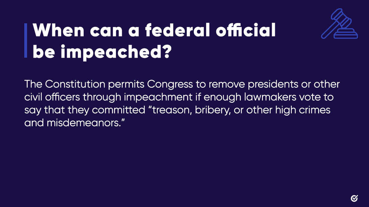 🧵(2/4): Impeachment is a historically rare declaration by the House of Representatives accusing a federal official, like the President of the United States, of treason, bribery, or other high crimes or misdemeanors.