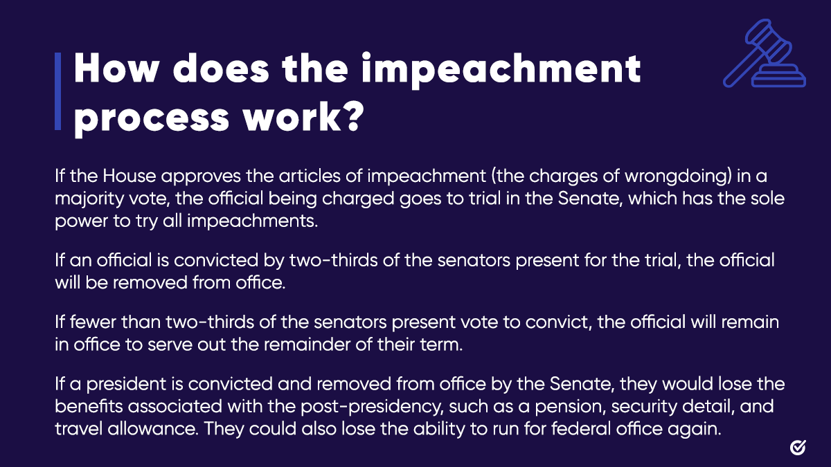 🧵(3/4): Once impeached by a simple majority vote in the House, a Senate trial will be held. A two-thirds supermajority vote of senators present is needed to convict.   If the vote falls short, the president is not convicted and the process ends there.