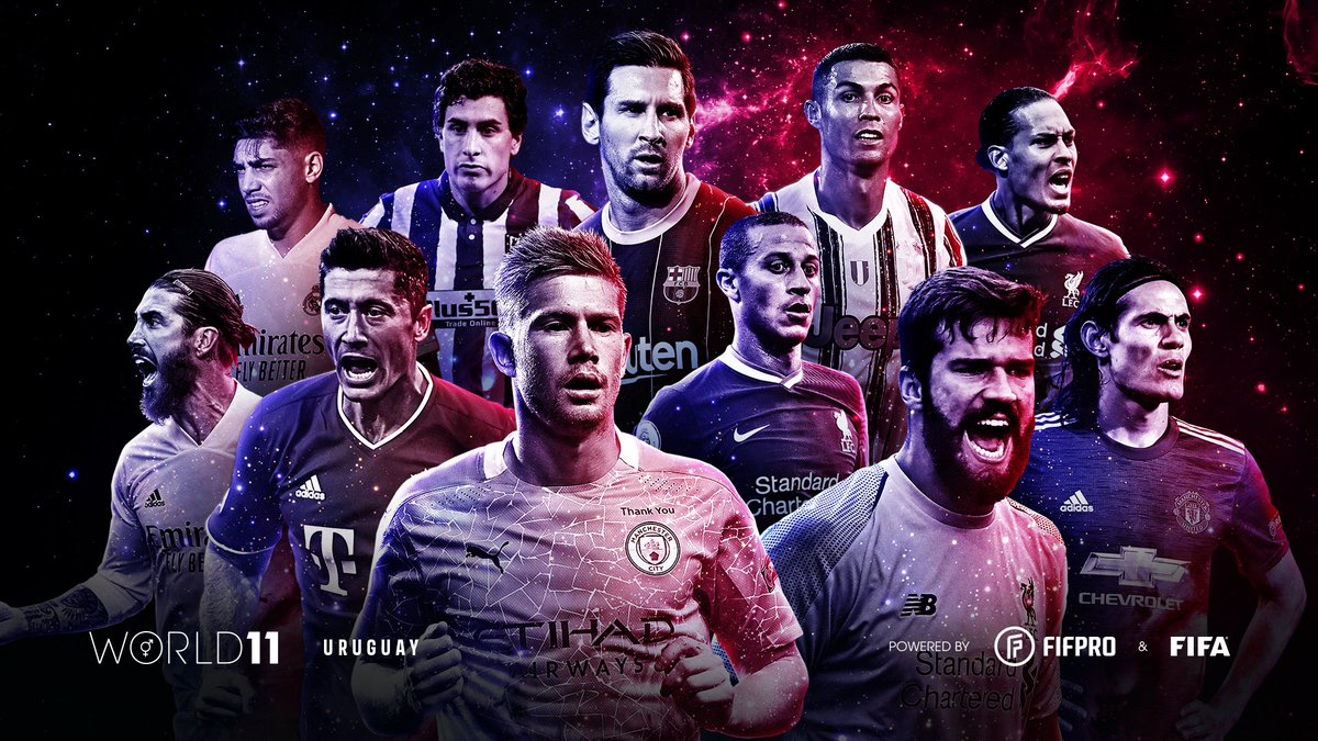 🌟Este fue #World11 2020 masculino que votaron futbolistas uruguayos a través de @FIFPro.  #AhoraMásQueNunca