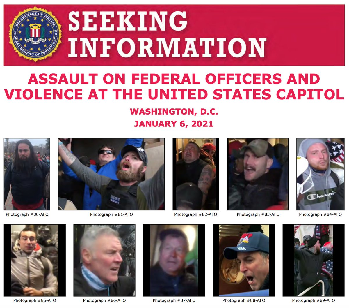 The #FBI continues to search for the individuals involved in the violence at the U.S. Capitol on January 6. We ask for the public's help in identifying people depicted in our new poster. If you see someone familiar, submit a tip at .