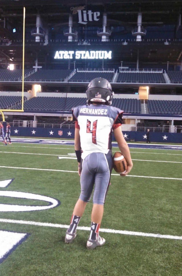 """Dang, can't wait to play here for a Texas State Championship in high school."" #GodStrong #4Real"