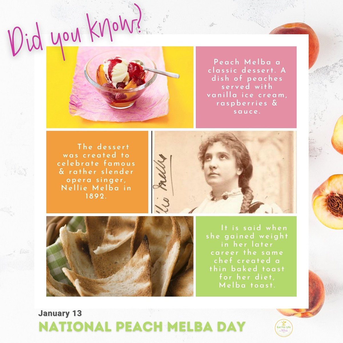 OMG! Now I know! Researched 🤓  #peachmelba for #nationalpeachmelbaday and very interesting! 😊🍑 so much #fun  . #eatforlifebymarsha #fooddays #nationalfooddays #peach #melba #fruit #dessert #peaches #peachy #peachlove #peachlovers #melbamoore #melbatoast #canadianfoodblogger