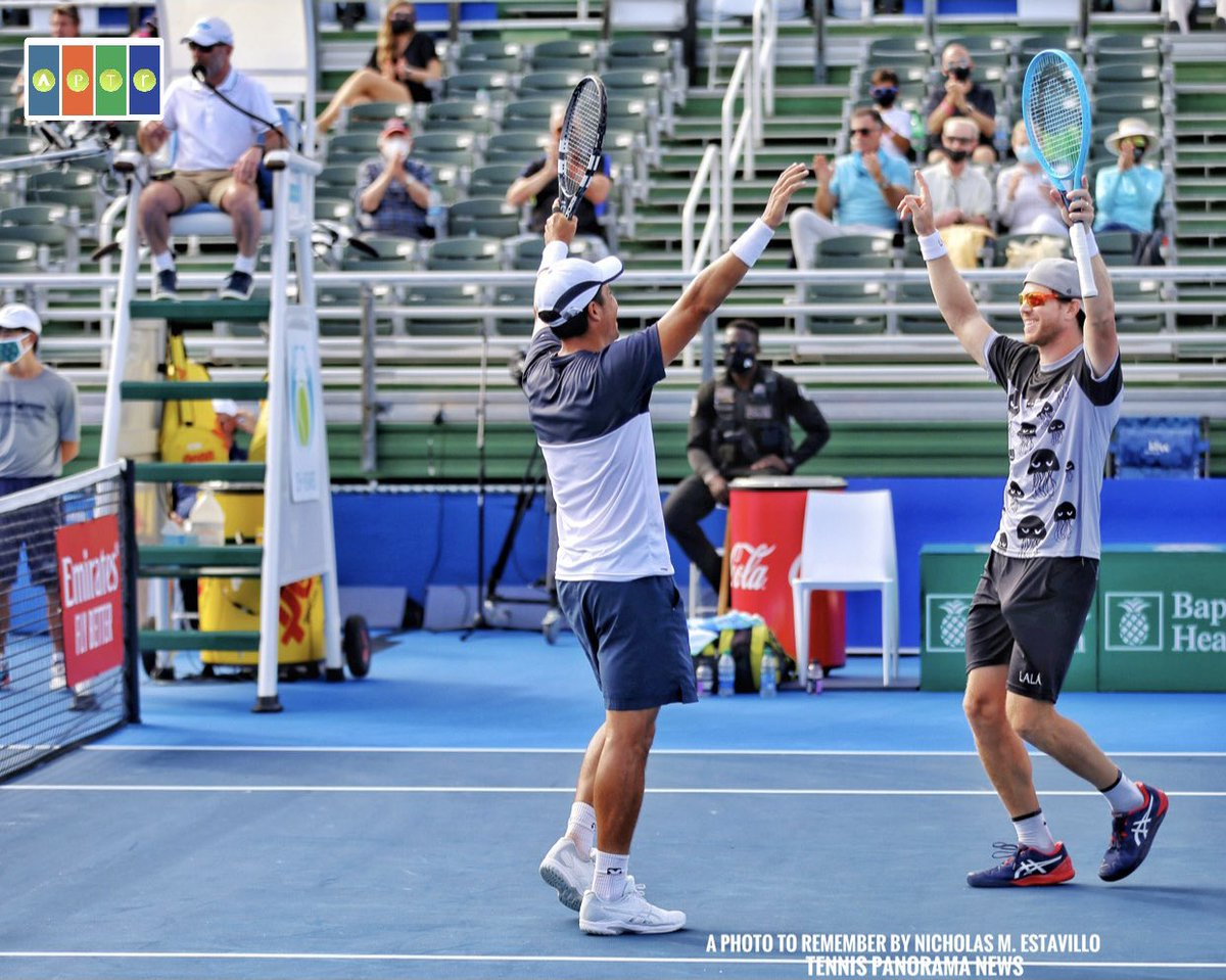 Huge congratulations to @goescobar89 & #ArielBehar, your 2021 @DelrayBeachOpen men's doubles champions! They win 1st @atptour title, 6-7(5), 7-6(4), 10-4  IG: a_photo_to_remember for pics from the tournament (for @TennisNewsTPN)  #DBOpen2021 #DelrayBeachOpen  #DBOpen #DBO2021 https://t.co/p9JOkFSp6O