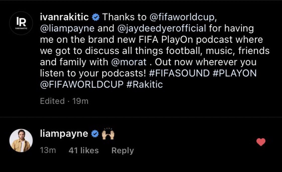 📲| Liam comento en el reciente post  de @ivanrakitic en Instagram.  #FIFASOUND #PLAYON