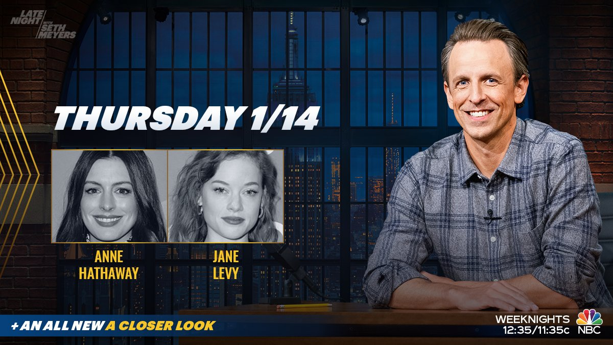 Tonight, @SethMeyers welcomes Anne Hathaway and star of #ZoeysPlaylist @jcolburnlevy! Plus, an all new #ACloserLook.