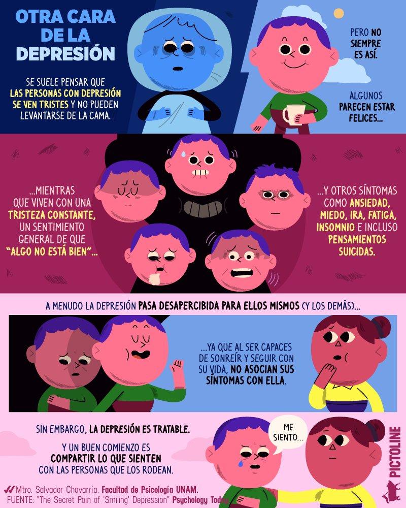 Mito: todas las personas con depresión se ven tristes 😞 Realidad: muchas personas pueden vivir con ella y al mismo tiempo verse felices☝️  #DíaMundialDeLaLuchaContraLaDepresión