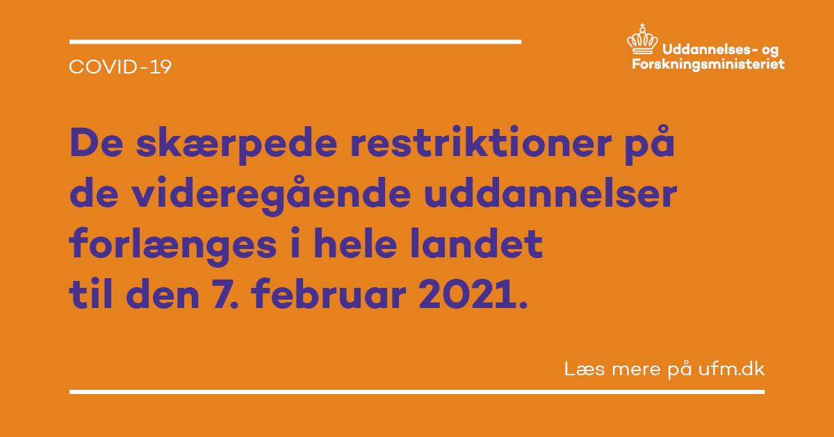 Varigheden af de skærpede COVID-19-restriktioner bliver nu forlænget til 7. februar 2021.  Få overblik over restriktionerne på de videregående uddannelser: https://t.co/eQTjRg1M7y #covid19dk #uddpol #dkpol https://t.co/b9nRaNotro